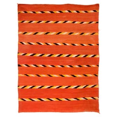 Vintage Navajo Transitional Blanket, Circa 1880, 19th Century, Red Orange Black