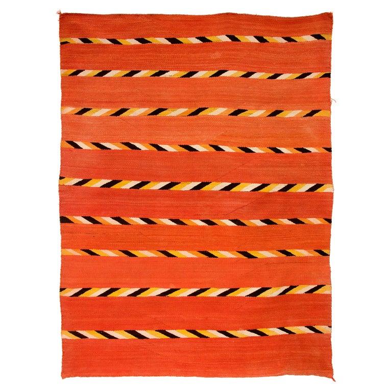Vintage Navajo Transitional Blanket, Circa 1880, 19th Century, Red Orange Black For Sale