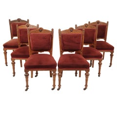 Set of 6 Victorian Oak Carved Upholstered Dining Chairs, Scotland 1890, B2451