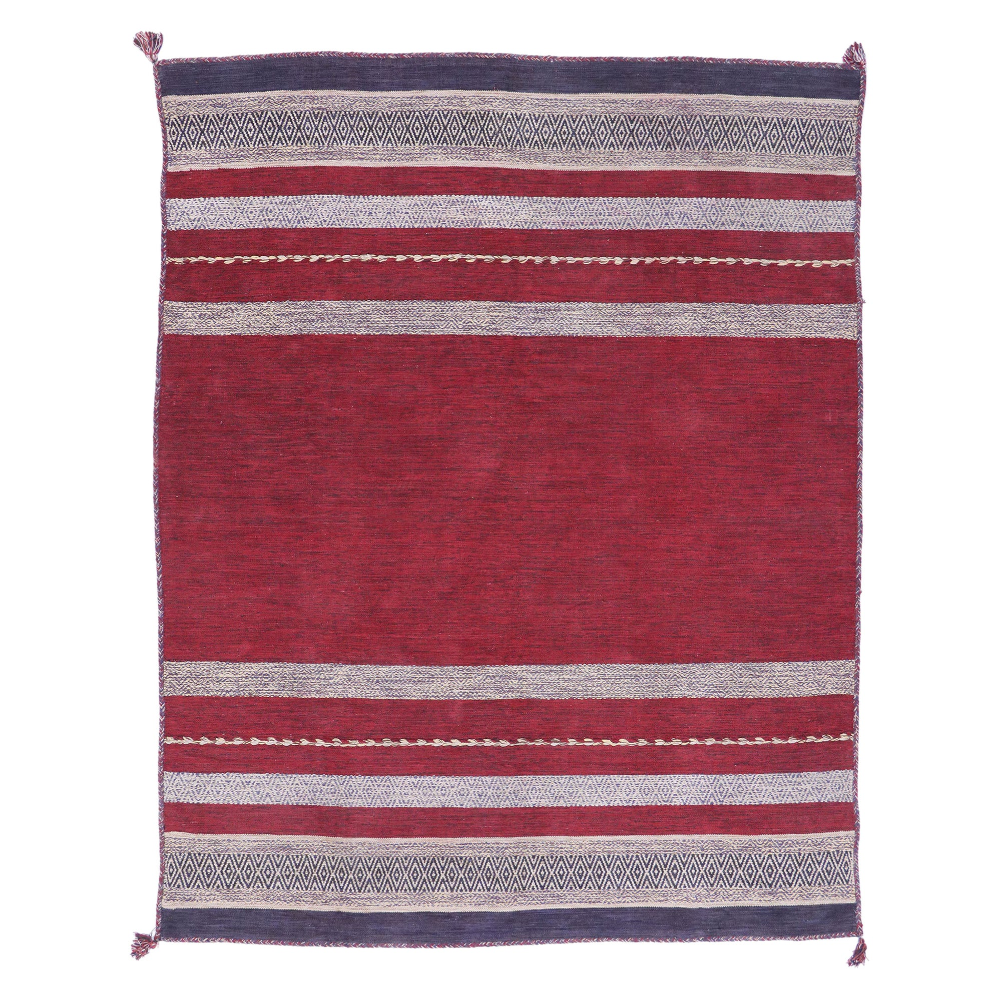 Vintage Berber Moroccan Kilim Rug with Nautical Style