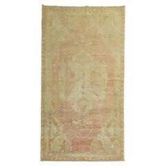 Soft Pink Vintage Oushak Gallery Size Rug