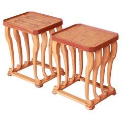Baker Furniture Modern Sculptural Burlwood End Tables or Nightstands, Refinished