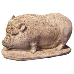 Early 20th Century French Weathered Concrete Garden Pig Sculpture
