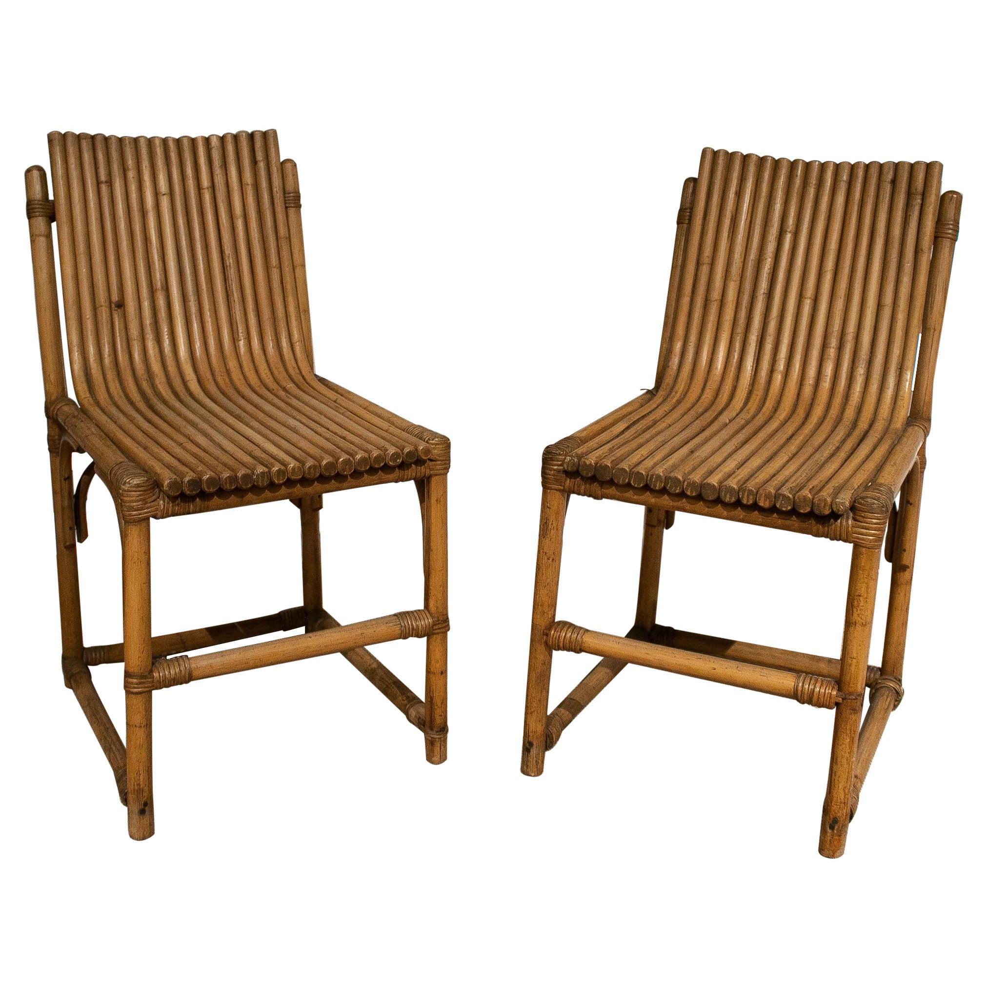 Pair of 1980s Spanish Bamboo Chairs