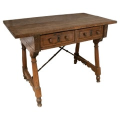 17th Century Spanish Walnut 2-Drawer Table w/ Original Iron Hardware