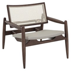 Soho Curved Cane-Back Chair in Walnut with Gray Leather Chair Seat