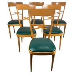 Set 6 Mid Century Modernist Italian Dining Chairs, Early 1950s, Beech Wood