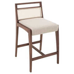 Sotto Counter Stool Ivory Fabric and Walnut Solid Wood