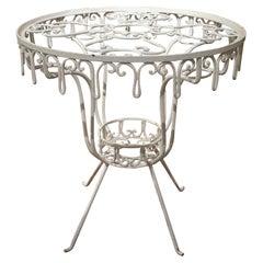 1970s Spanish White Wrought Iron Round Table Garden Pedestal Base