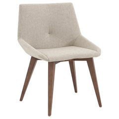 Geometric Cubi Dining Chair with Walnut Base and Ivory Fabric Chair Seat