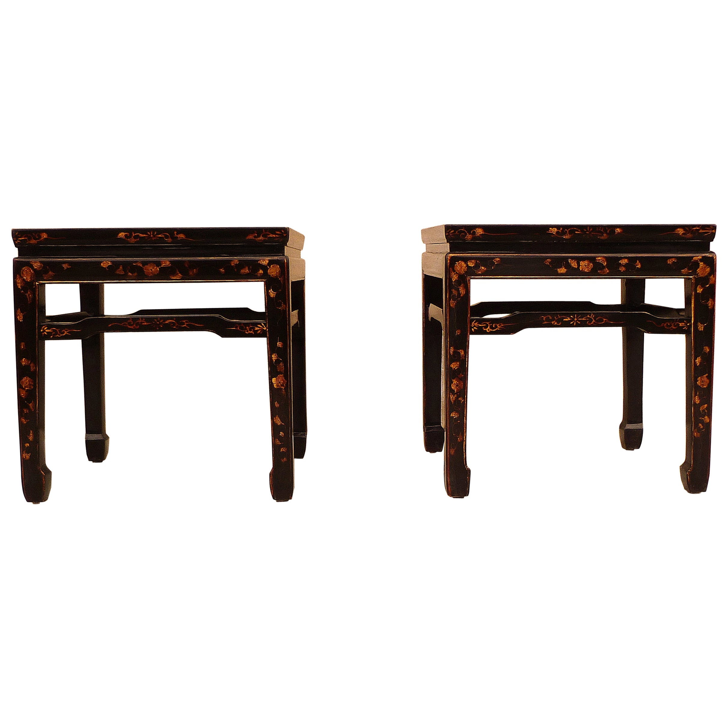 Pair of Fine Black Lacquer End Tables with Gilt Motif