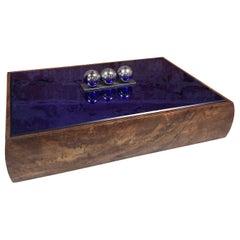 Vintage Blue Decorative Box, Italy, 1970s