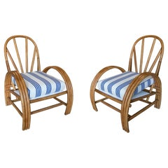 Pair of 1970s Spanish Reupholstered Bamboo Armchairs