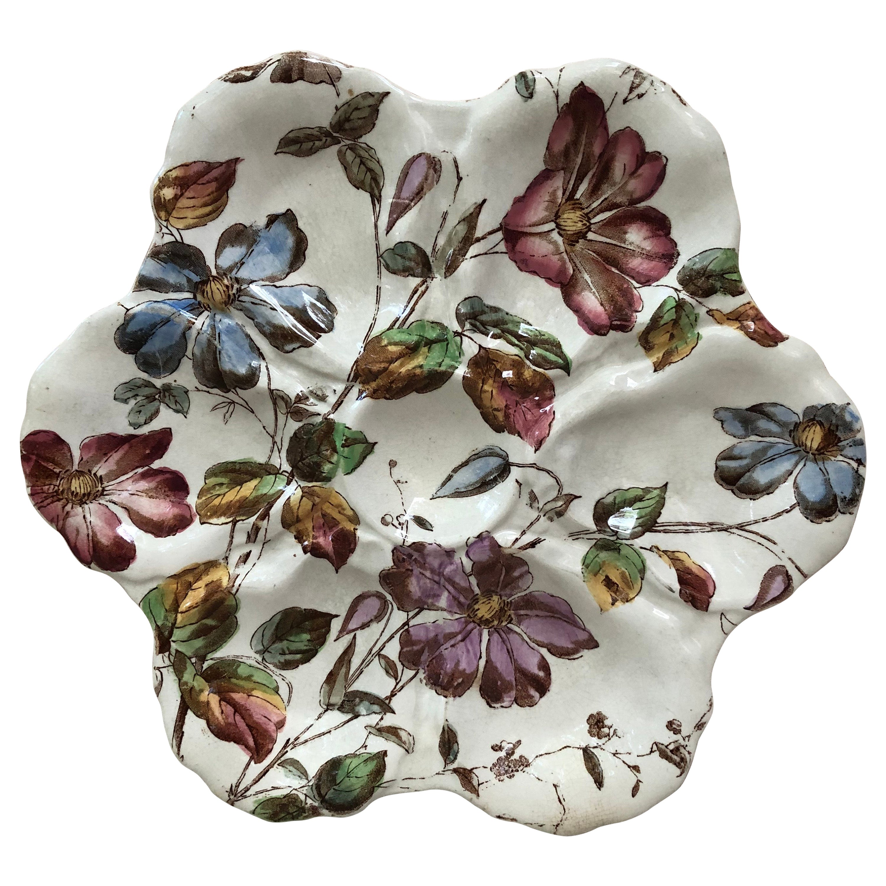 19th Century English Oyster Plate with Flowers Adderley