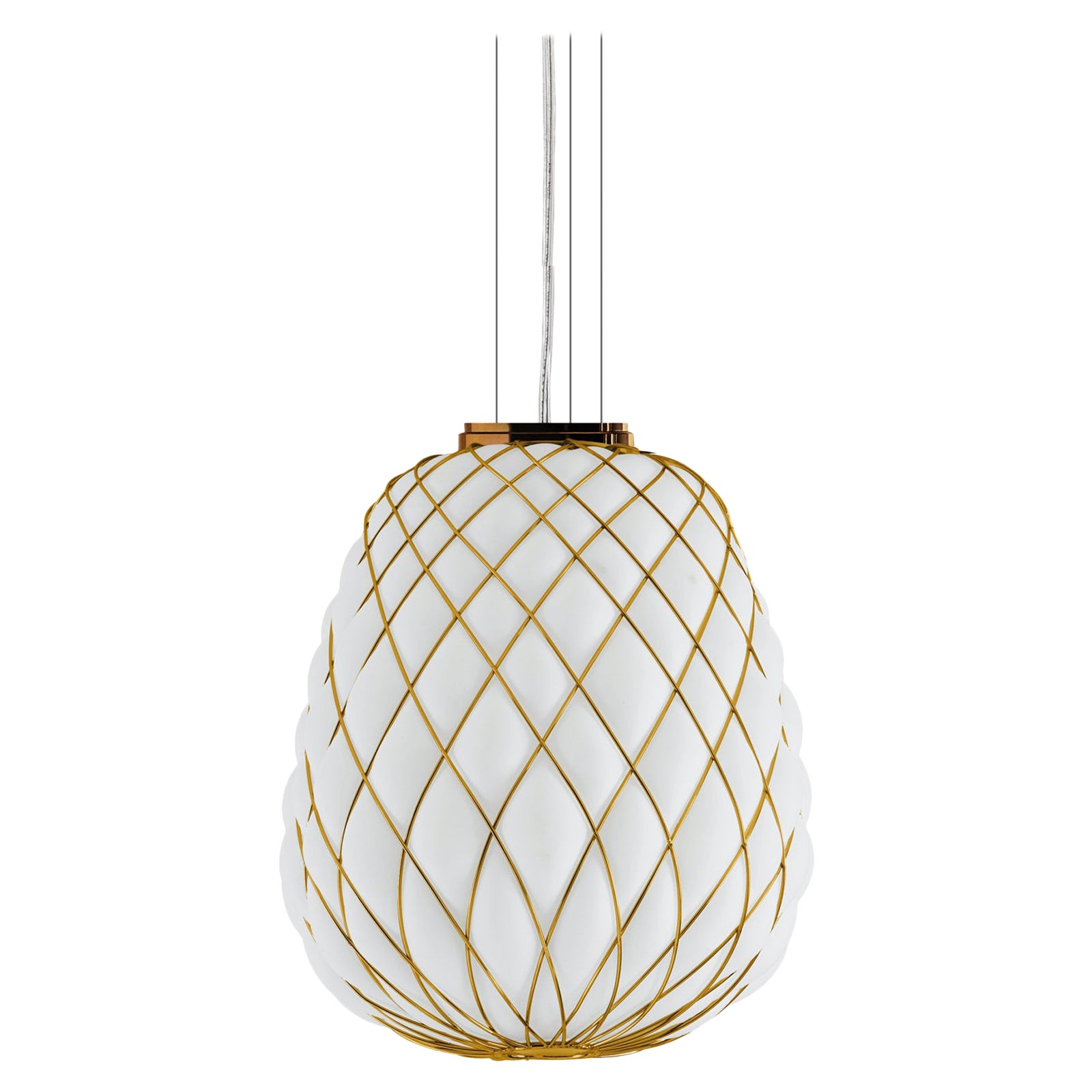 Large 'Pinecone' Suspension Lamp in Opaline Glass & Gold Metal for Fontana Arte