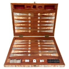 Rare Italian Decorative Wood Backgammon Game Board, circa 1970
