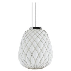 Large 'Pinecone' Suspension Lamp in Opaline Glass & Chrome for Fontana Arte