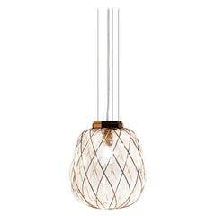 Medium 'Pinecone' Suspension Lamp in Glass & Gold Metal for Fontana Arte