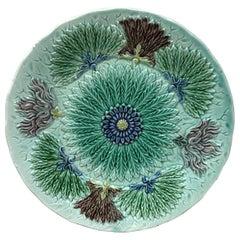 German Majolica Flowers Plate, Circa 1900