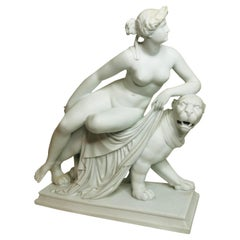 English Parian Figurine of a Nude Figure of Adriadne Riding on Top of a Panther