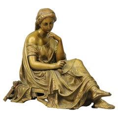 Antique Bronze Statue of a Classical Woman Composer after Moreau, circa 1890
