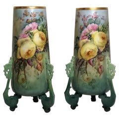 Pair of Large William Guerin Limoges Hand Painted Vases with Roses and Peonies