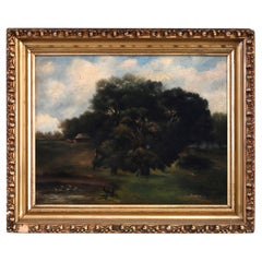 Antique English Oil on Board Landscape Painting by R.F. Filed, 1890