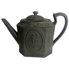 Basalt Wedgwood Teapot with Medallions of Man with Lyre and Lady on Pedestal