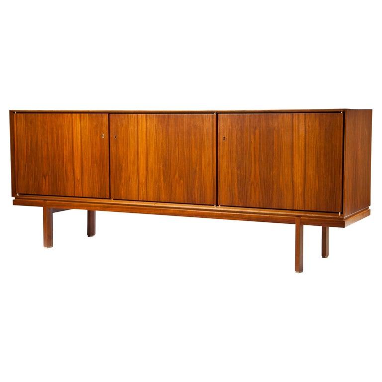 1960s Thin Edge Three Door Walnut Credenza, Mid Century Danish For Sale