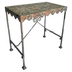 Iron Garden Table with Glazed Tile Top