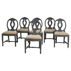 Set of 6 Patinated Swedish Chairs