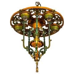 Early 20th C. Tawny & Green Cast Metal Carousel Semi Flush Chandelier
