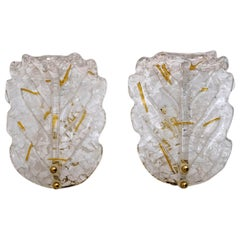 Pair of Art Deco Style Italian Murano Glass Leaf and Wall Sconces, 1960s