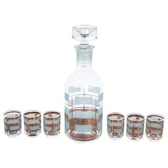 Glass Decanter with Six Glasses, 1970s