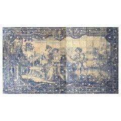 "18th Century Portuguese ""Azulejos"" Panel ""Romantic Scene"""