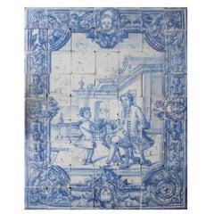 "18th Century Portuguese ""Azulejos"" Panel ""Leisure Scene"""
