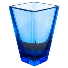 Art Deco Crystal Blue Vase from Moser, 1930/40s