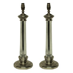 Pair of English Silver and Cut-Glass Column Lamps