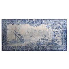 """18th Century Portuguese """"Azulejos"""" Panel """"River Scene"""""""