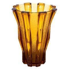 Honey Glass Vase, Poland, 1960s