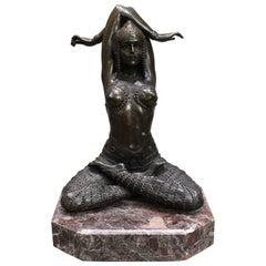 Bronze on Marble Base Seated Cross Legged Lady