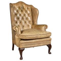 Late 20th Century English Sheepskin Leather Wingback Armchair