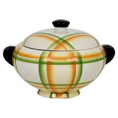 Simonetto Futuristic Airbrushed Ceramic Italian Centerpiece Soup Bowl, 1930s