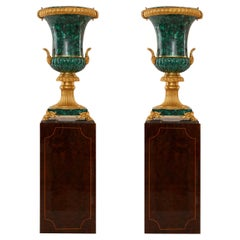 Pair of Malachite Vases