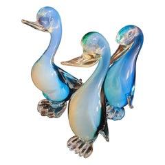 Murano Glass Sommerso Opaline Birds