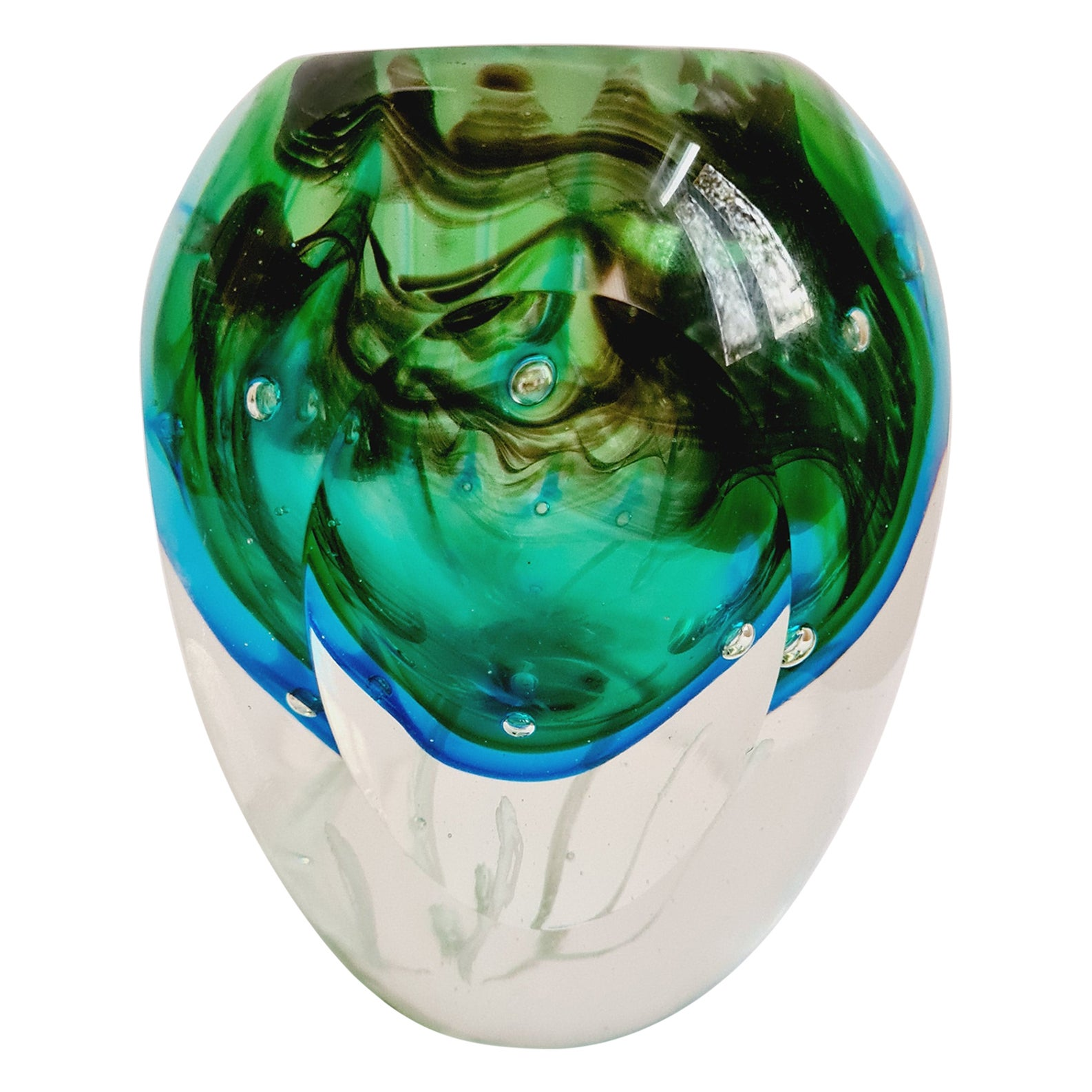 Murano Glass Faceted Sommerso Vase Signed by Flavio Poli