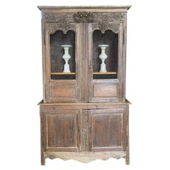 Character Rich French 19th Century Tall Carved Wood Cabinet Bookcase