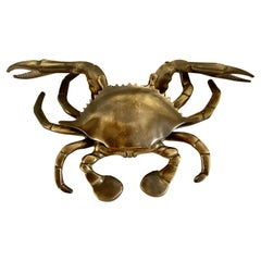 Solid Patinated English Bronze Crab Cancer Lidded Ashtray 420