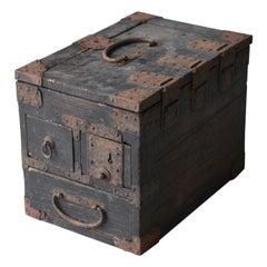 Japanese Antique Storage Box 1800s-1860s/Tansu Contemporary Art Wabisabi Drawer
