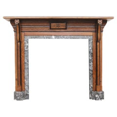 Victorian Oak Fire Surround in an Arts & Crafts Aesthetic Manner